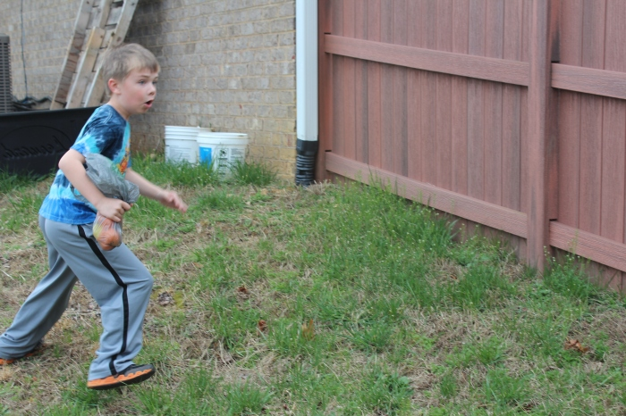 Our egg hunting the night before didn't work out, so we had our own egg hunt. K's expression is priceless.