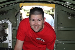 Chris crawling through the plane. Not easy for the 6' 4'' guy, but he loved ever second of it.