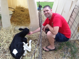 Chris with a calf