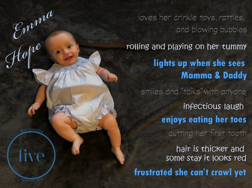 Emma 5 month stats
