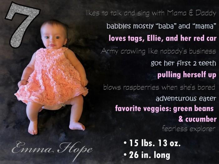 Emma 7 month stats