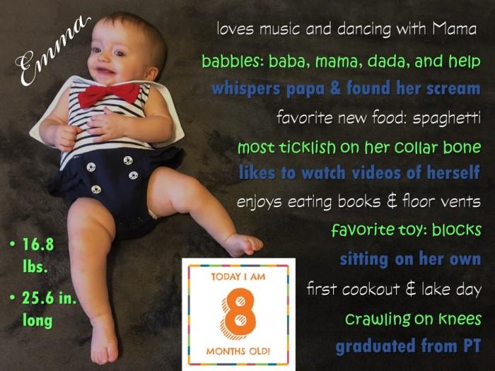 Emma 8 month stats